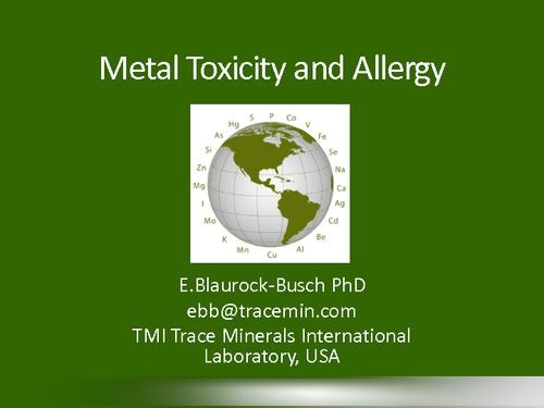 Metal Toxicity and Allergy